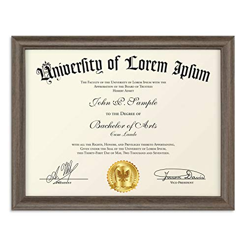 Notary Wood - Icona Bay 8.5x11 Diploma Frame (1 Pack, Hickory Brown), Certificate Frame, Document Frame, Composite Wood Frame for Walls or Tables, Set of 1 Lakeland Collection