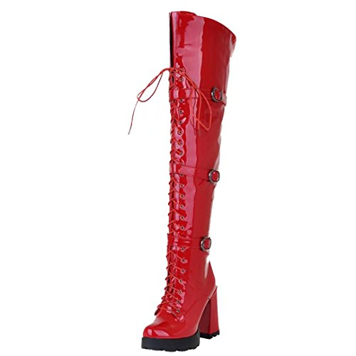 Platform Winter Leather Patent AIYOUMEI Boots Long The Lace Knee Over Up Thick Womens Red Boots Heel SEvBnxqXB
