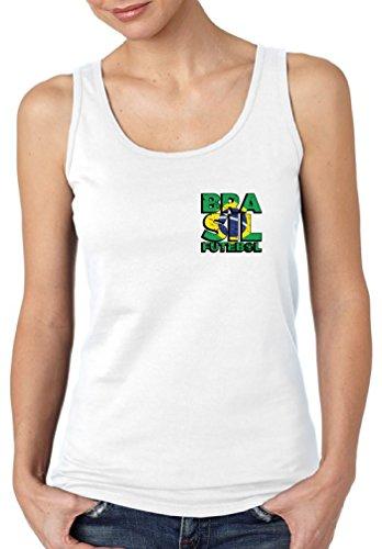 Vizor Brasil Futebol Tank Top for Women Brazilian Sleeveless Shirt Brazil Gifts White (Brazil Sleeveless)