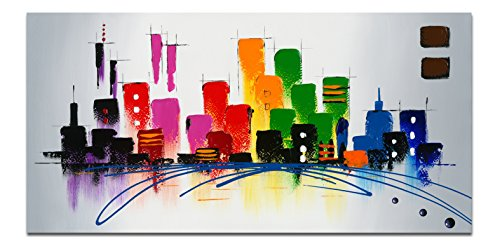 Wieco Art - Cityscape Large Colorful City 100% Hand Painted Modern Stretched and Framed Abstract Landscape Oil Paintings on Canvas Wall Art Ready to Hang for Living Room Bedroom Home Decorations