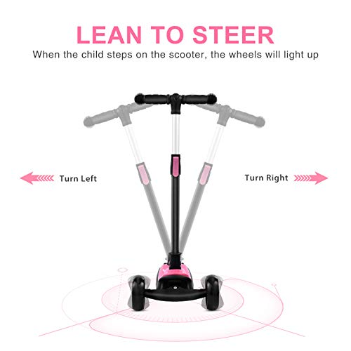 Foldable Scooter for Kids,3 Flashing Wheels Kids Scooter, Toddler Scooter with 4 Adjustable Height and Rear Heel Brake for Kids Age 3 Year+ (Pink)