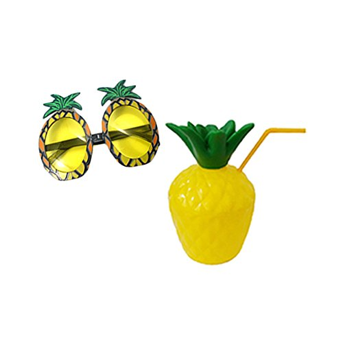 Novelty Plastic Pineapple Cup With Pineapple Sunglasses For Hawaiian Luau Beach Summer Party (Plastic Pineapple)
