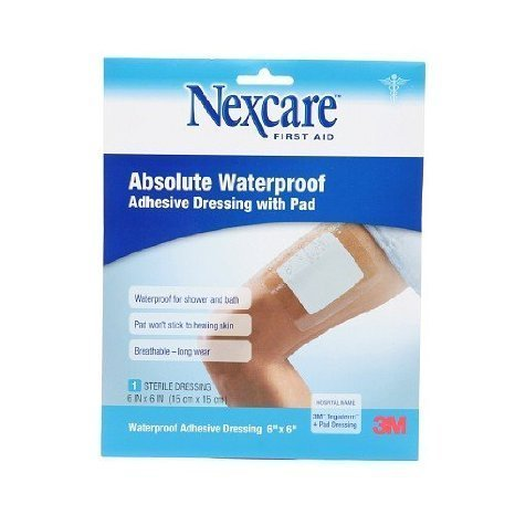 (Nexcare Absolute Waterproof Adhesive Dressing wtih Pad, 6 x 6 inches 1 ea(pack of 2))