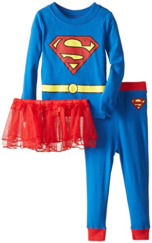 DC Comics Toddler 'Superman Supergirl Tutu' Cotton Costume Pajama Set, Blue, 2T