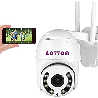 1080P PTZ WiFi Camera Outdoor Aottom 2MP 4X Zoom Security IP Camera, Pan Tilt Dome Surveillance Camera, Two Way Audio, Motion Detection Alarm, Night Vision, Waterproof, APP for P2P Support Max 128G SD
