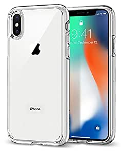 Spigen Ultra Hybrid iPhone X Case with Air Cushion Technology and Clear Hybrid Drop Protection for Apple iPhone X (2017) - Crystal Clear