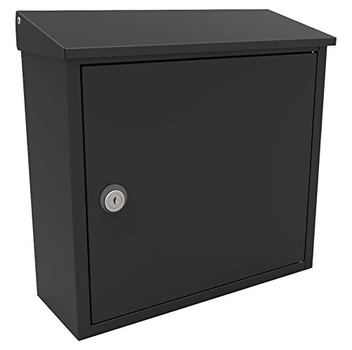 Blk Mailbox Wall (Qualarc ALX-400-BLK Allux 400 Black Wall or Post Mount Top Loading Locking Steel Mailbox)
