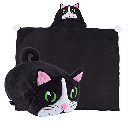 [Comfy Critters Kids Huggable Hooded Blanket - Black] (Toddler Cat Costume Ideas)