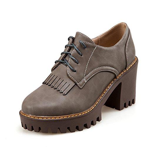 Para de Poliuretano Zapatos Cordones Mujer de Gris DoraTasia qSwtxIXw