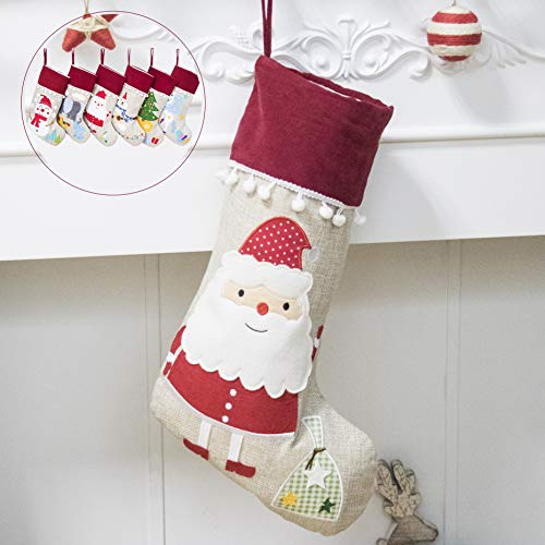 Beyond Your Thoughts New Burlap Christmas Stocking (Extra Large) Embroidered Linen Christmas Ornament Family Decorations (17.5 inch) -Santa ()