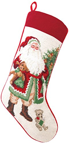 Lynn Haney Needlepoint Stocking Teddy Bear Santa, 11 x 18