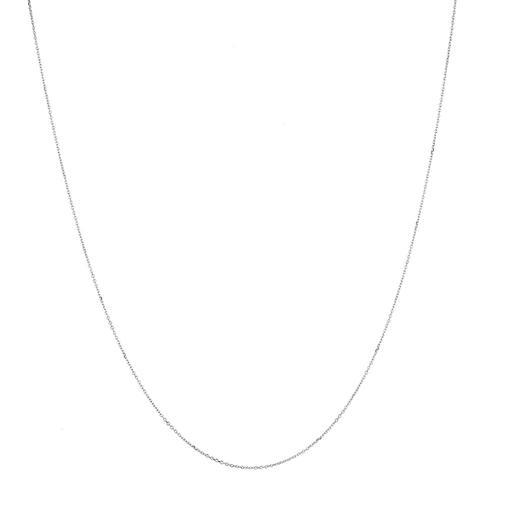 Icedtime 14K White Gold Cable Chain 17 inch Long x1.1mm Wide