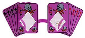 Skull Poker Playing Cards Costume Novelty Sunglasses, Purple Black, One-Size