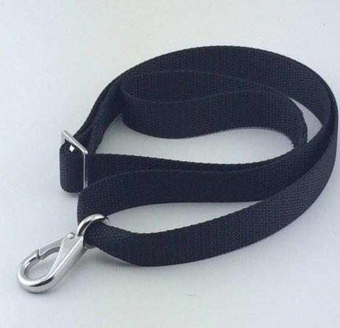 Bimini Strap (Bimini Top Strap with Single Snap Hook - Adjustable, Stainless Steel Hardware, Black or White (Black, 28