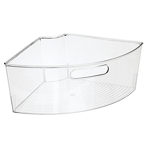 mDesign Kitchen Cabinet Plastic Lazy Susan Storage Organizer Bins with Front Handle - Large Pie-Shaped 1/4 Wedge, 6'' Deep Container - Food Safe, BPA Free - Set of 4, Clear by mDesign (Image #7)