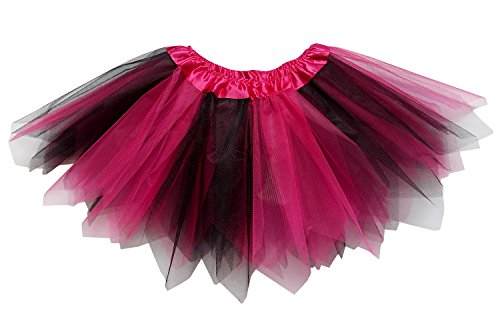 So Sydney Adult Plus Kids Size PIXIE FAIRY TUTU SKIRT Halloween Costume Dress Up (M (Kid Size), Hot Pink & (Black And Pink Costumes)