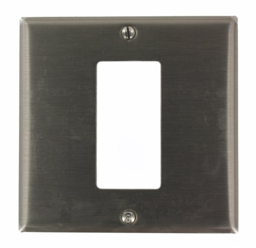 (Leviton S746-N 2-Gang 1-Decora/GFCI Centered Device Decora Wallplate, Device Mount, Stainless Steel)