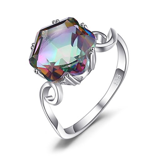 (JewelryPalace 3.2ct Natural Gemstone Rainbow Quartz 925 Sterling Silver Solitaire Ring For Women Size 8)