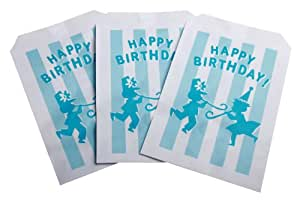 Party Partners Design Retro Style Birthday Loot Bags, 12 Count, Blue