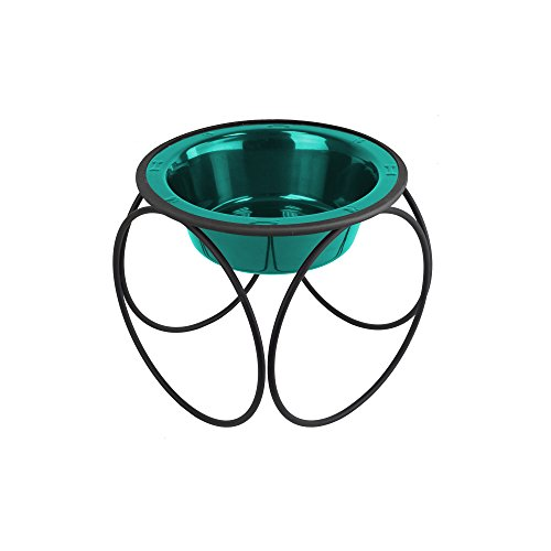 Platinum Pets Single Olympic Diner Feeder with Stainless Steel Dog/Cat Bowl, 1.25 cup/10 oz, Caribbean Teal by Platinum Pets
