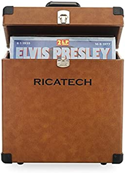 Ricatech RC0042 Valise de rangement en vinyle jusqu/à 30 disques vinyle et couleur bo/îte /à charni/ère de 12 pouces pour la conservation de disques couleur marron