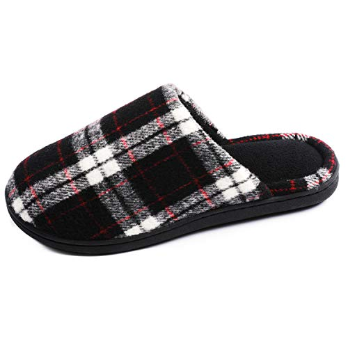 RockDove Women's Plaid Scuff with Memory Foam, Size 11-12 US Women, Black (Kozy Sleeper)