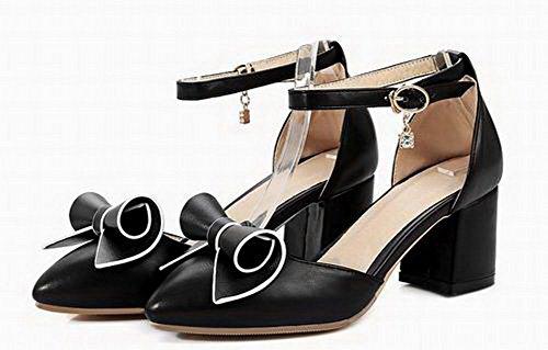 AgooLar Noir Correct Fermeture Boucle PU d'orteil Femme Sandales Talon Cuir à GMBLB014535 PtxwqyPSRr