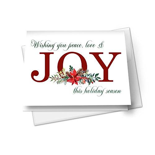 Print A Christmas Card - Joyful Floral Christmas Card Set (12 Pack) Woodland Holiday Greetings