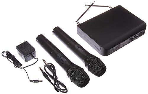 Sound Town Professional Dual-Channel VHF Handheld Wireless Microphone System, 2 handheld mics, for Church, Business Meeting, Outdoor Wedding and Karaoke (SWM10-V2HH) by Sound Town