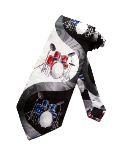 (Black with Red & Blue Drum Sets Music Neck Tie)