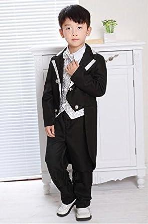 51a5598ad912e 子供 タキシード 男の子用 フォーマル 燕尾服 豪華6点 フルセット (ブラック 黒・