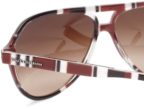 Dolce & Gabbana Mens 4182p Stripes Special Project Stripes Brown / Black / White Frame/Brown Gradient Lens Plastic Sunglasses