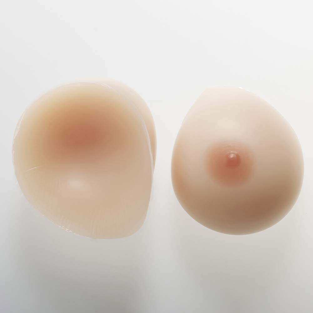 Silicone Breast Forms Waterdrop Fake Boobs Non-Allergic for Crossdresser TransBreast Prosthesis,2,600g/M/CupB