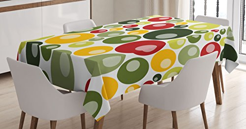 Ambesonne Retro Tablecloth by, Colorful Vintage Pattern with Circle Shapes Funky Bubbles Abstract Design Artwork, Dining Room Kitchen Rectangular Table Cover, 60W X 90L Inches, Multicolor