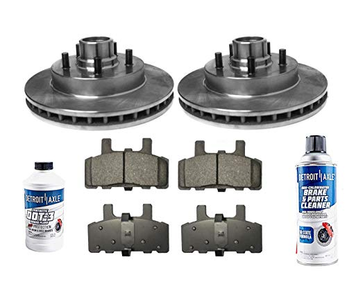 Detroit Axle - Pair (2) Front Disc Brake Rotors w/Ceramic Pads for 2WD Only - 1992-1999 Chevy/GMC C1500 - [1999-2002 Express 1500/ Savana 1500] - 1995-1999 Tahoe/Yukon Rear Drum Models