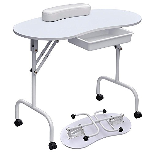 "Yaheetech 37""L Portable & Foldable Manicure Table Nail Technician Desk Workstation with with Client Wrist Pad/Lockable Wheel/Free Carrying Case, White"