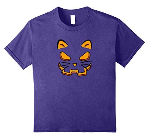 Kids Cat Pumpkin Face Halloween T-Shirt 10 (Halloween Pumpkin Cat Faces)