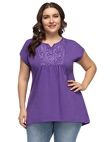 Hanna Nikole Summer Plus Size Chiffon Cotton Patchwork Pleats Sleeveless Tank Tops 18W Purple