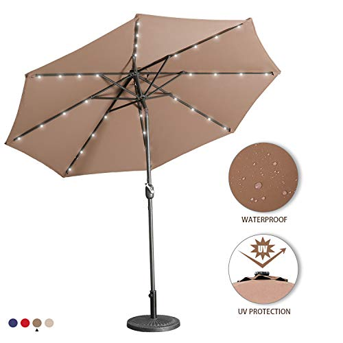 Aok Garden 9 Ft LED Lighted Patio Outdoor Umbrella Solar Power Market Table Fade-Resistant Umbrella with Push Button Tilt & Crank and 8 Sturdy Ribs, - Garden Rib