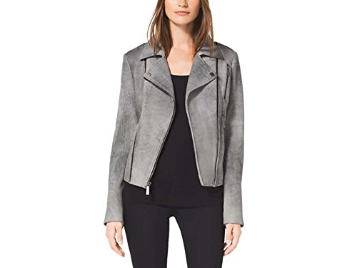 (Michael Kors Women's Motorcycle Leather Jacket-Grey-L)