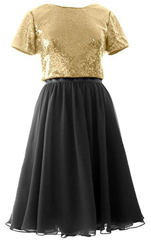 MACloth Cap Sleeves Two Piece Short Bridesmaid Dress Sequin Chiffon Formal Gown Champagne-Black yGnsW
