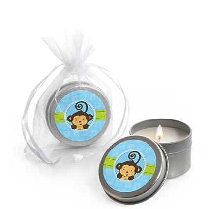 Amazoncom Blue Monkey Boy Candle Tin Baby Shower Favors Set Of