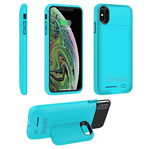 Battery Case for iPhone Xs Max, i.VALUX 5000mAh High Capacity Rechargeable Extended External Charger Case Power Bank Backup Battery Charging Protective Case with Magnet Bracket (Blue-6.5)