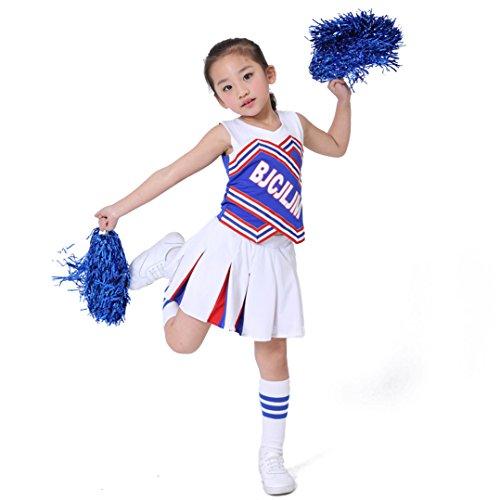 Dreamowl Children Girls Blue White Cheerleader Uniform Cheerleader Outfit with Pom Socks (Girls Youth Cheerleader Outfit)