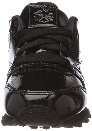 Reebok Leather Mixte Baskets Patent enfant Noir Black Classic FwqraF