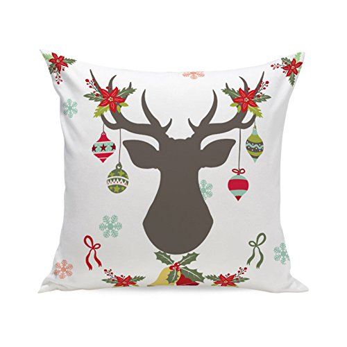 MIARHB Christmas Winter Deer, Merry Chritmas Letter Printed Cotton Linen Home Decorative Throw Pillow Case Cushion Cover for Sofa Couch(18'' x 18'', A)