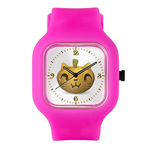 Bright Pink Fashion Sport Watch Kitty Cat Halloween Jack-O-Lantern