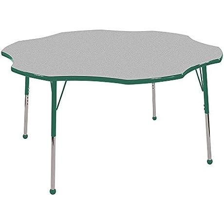 ECR4Kids Classroom Adjustable Activity Table Flower 60 ELR Grey Green Toddler Ball Glide
