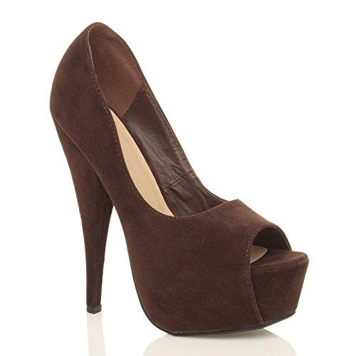 Damen Hoher Absatz Peep Toe Klassisch Party Grund Elegant Plateauschuhe Pumps Sandalen Größe Braun Wildleder