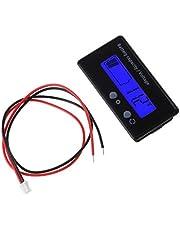 WAHSBAG Elektrische Meter,8-70V Blauw LCD Zure Lood Lithium Batterij Capaciteit Indicator Voltmeter Gauge 2in1